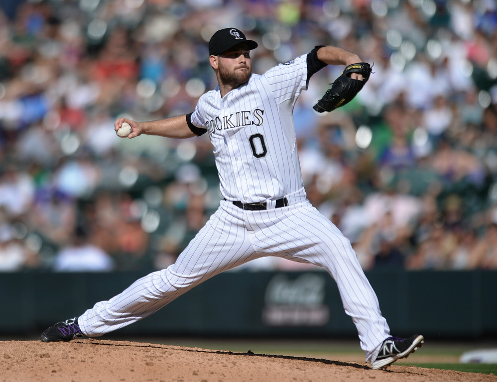 . DENVER, CO - JULY 5:  Colorado reliever Adam Ottavino pitched in the eighth inning. The Colorado Rockies defeated the Los Angeles Dodgers 8-7 at Coors Field Saturday afternoon, July 5, 2014.  Photo by Karl Gehring/The Denver Post