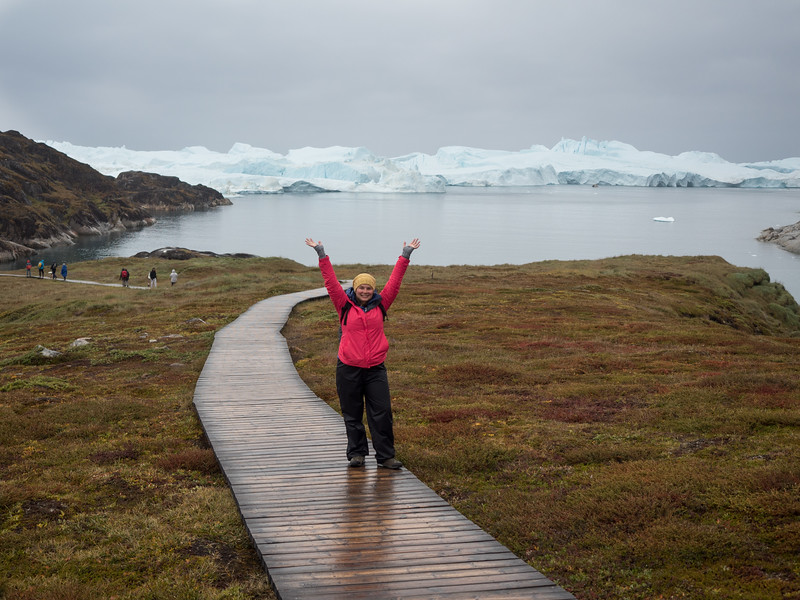 Amanda in the boardwalk to the Ilulissat Icefjord