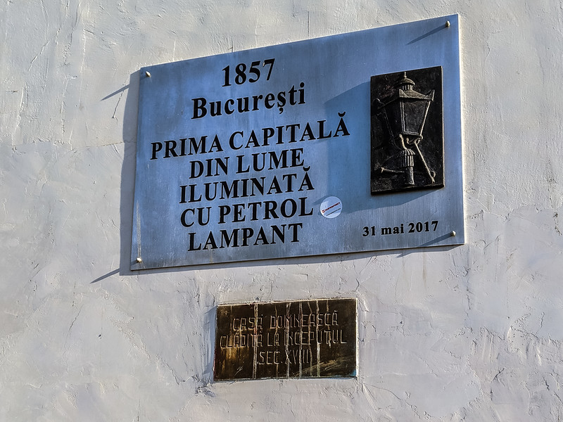 Last night dinner together.  This sign depicts the first restaurant in Romania to have electricity.
