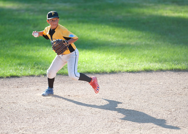 08/23/18 Wesley Bunnell | Staff The Forestville Pirates vs the Edgewood Cubs in the Bristol Little League City Series on Thursday evening at Frazier Field. Pirates short stop Aiden Lopez (8).