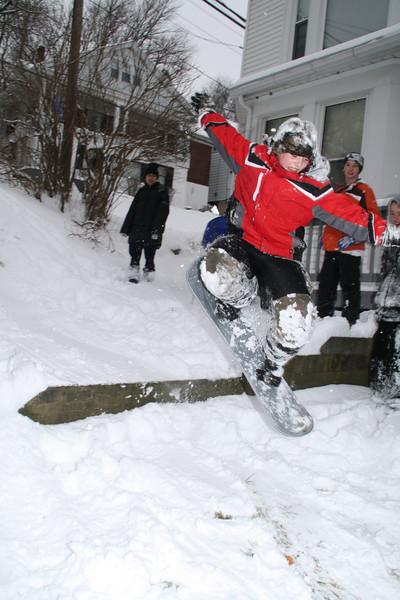 Kids Sledding & Boarding Down Hill, Iron Steps, Tamaqua (1-21-2012)