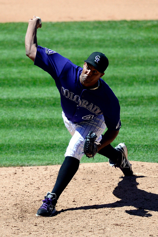 . Colorado Rockies starting pitcher Juan Nicasio (44) pitches against the San Diego Padres during the action in Denver. The Colorado Rockies hosted the San Diego Padres at Coors Field on Sunday, June 9, 2013. (Photo by AAron Ontiveroz/The Denver Post)