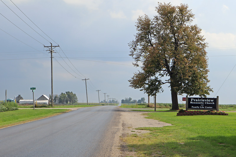 The road in front of Prairieview Mennonite Church