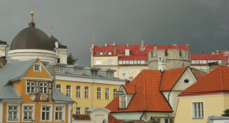 Interesting rooftops amid the coming storm Old Town -Tallinn, Estonia