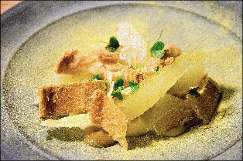 Compressed comice pear, ale caramel, tangelo, pine nuts + puff pastry
