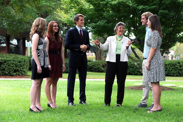 2014 President's Scholarship Recipients talk to UWF President Judy Bense on campus (left to right: Chloe Brummer, Melissa Pisarski, Robert Prosser, Judy Bense, Ryan Colburn, Sarah Birdsong)