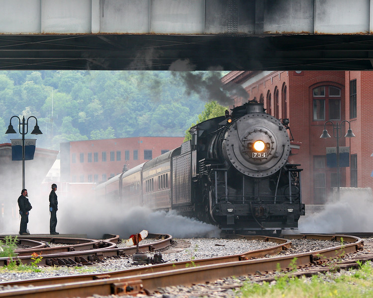 #734 blowing off steam Western Maryland Scenic Railroad