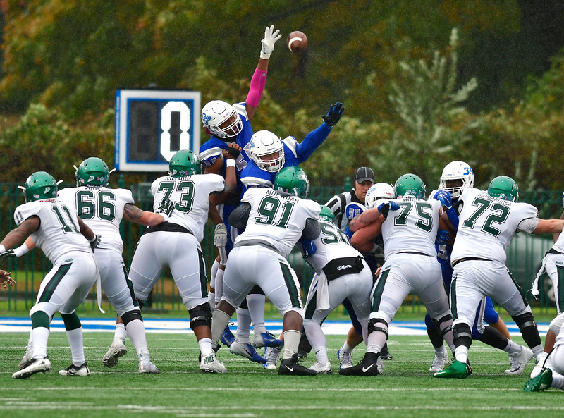 10/27/2018 Mike Orazzi | Staff CCSU's Tre Jones (50) during Saturday's football game in New Britain with CCSU.