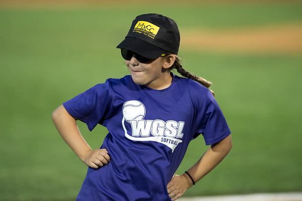 08/15/19 Wesley Bunnell | Staff The New Britain Bees vs the High Point Rockers at New Britain Stadium on Thursday, August 15, 2019. Annaliese Raffile, age 9, dances during a between innings on field competition.