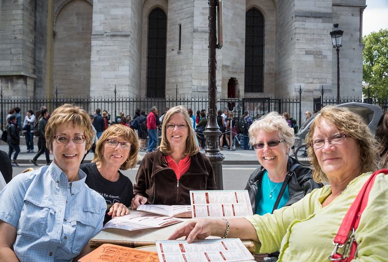 """Scharenberg lunch"" regulars Susan, Nancy, Jan and Sandy, and honorary guest Jane, enjoying the sunshine next to Notre Dame"