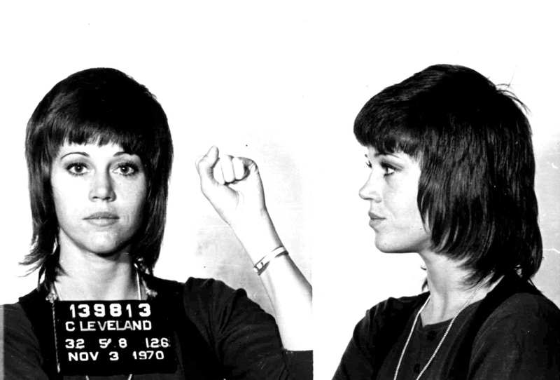 ". Actress Jane Fonda is shown in a Nov. 3, 1970 police mugshot after she was arrested for assault and battery in Cleveland, Ohio after she allegedly kicked a cop. All charges were later dropped. This photo is included in the book, ""Mug Shots: Celebrities Under Arrest. (AP Photo/St. Martin\'s Press)"