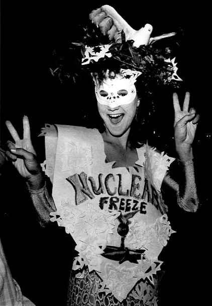 ". 1984: A reveler who gave her name only as Thais said she was making a ""timely comment\"" with her Nuclear Freeze costume at the Redwood Estates Halloween party. (Eugene Louie, Mercury News)"