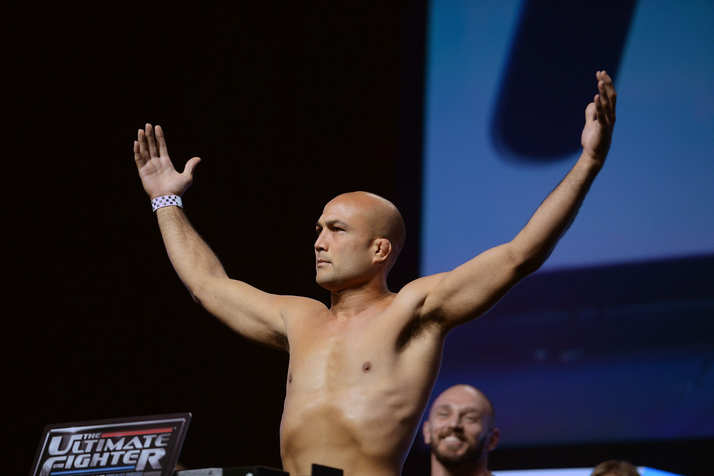 . B.J. Penn during weigh-ins for the TUF 19 Finale: Team Edgar vs Team Penn. (Photo by Hans Gutknecht/Los Angeles Daily News)