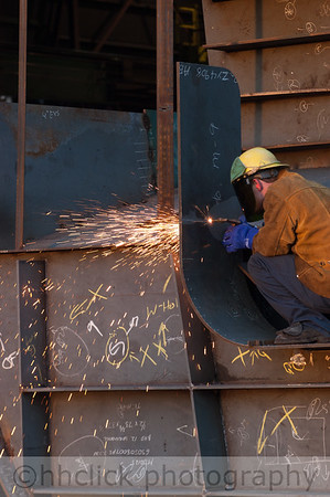 Welding on a barge component at Gunderson Marine.