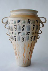 """vase - wood fired cone 10, size: 18"""" x 12"""" x 10"""""""