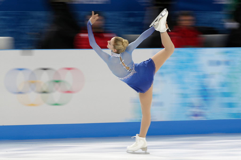 . Gracie Gold of the United States competes in the women\'s free skate figure skating finals at the Iceberg Skating Palace during the 2014 Winter Olympics, Thursday, Feb. 20, 2014, in Sochi, Russia. (AP Photo/Bernat Armangue)