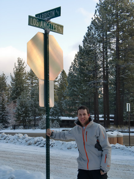 Harrison at the corner of Harrison Ave and Los Angeles Ave (he's from LA in case you couldn't deduce that!).  Photo by Harrison Turner.