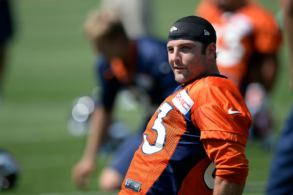 . Denver Broncos wide receiver Wes Welker (83) stretches during day two of the Denver Broncos 2014 training camp July 25, 2014 at Dove Valley. (Photo by John Leyba/The Denver Post)