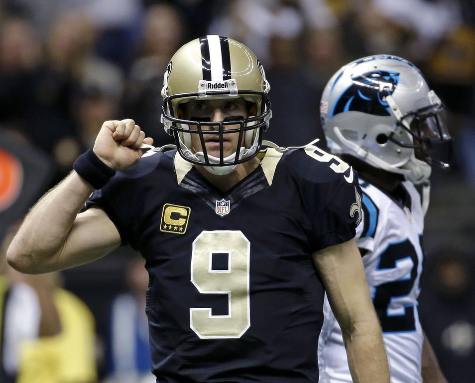 . <p><b> Saints at Rams (+5½):</b> <p>New Orleans� Drew Brees passed Peyton Manning in the record books on Sunday, becoming the fastest-ever to reach 50,000 passing yards. Of course, Manning still holds the record for the fastest to reach 50,000 commercials. <p>Pick: <b>Saints by 7</b> <p>     (AP Photo/Dave Martin)