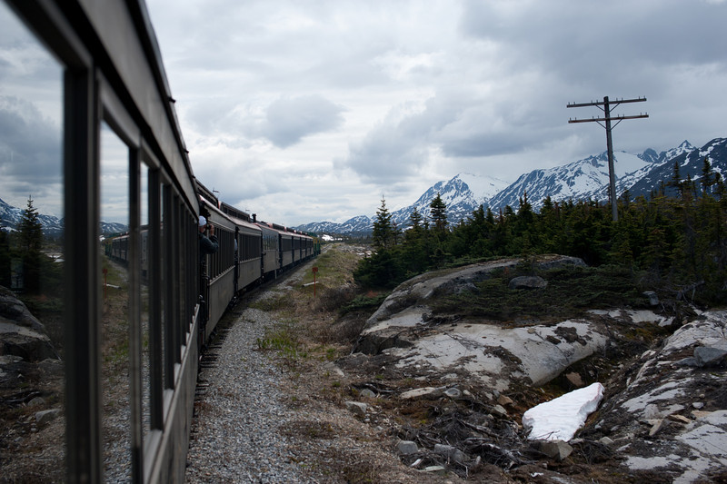 View of snow-covered peak from White Pass Train in Alaska