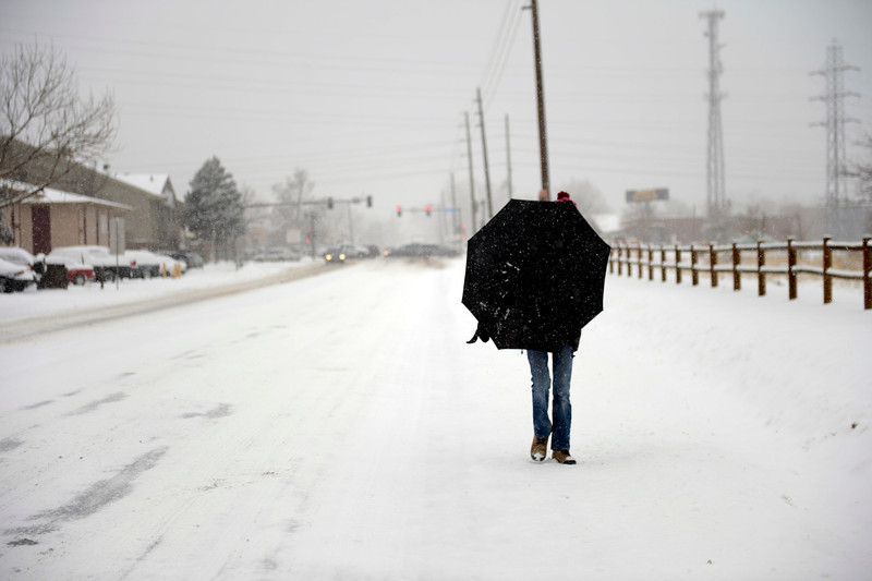 . A walker uses her umbrella as a shield along 26th Avenue near Crown Hill Park in Lakewood after an over night snow fall left 3 to 6 inches across Denver and the surrounding areas February 21, 2013. Lakewood, Colorado. (Photo By Joe Amon/The Denver Post)