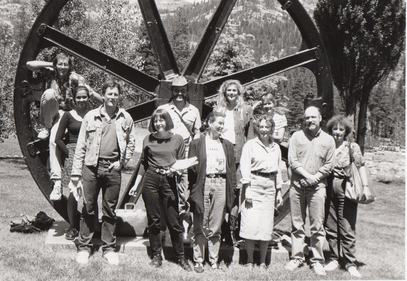 Fiction workshop. 1991.  Lisa Alvarez (standing left),Mark Wisniewski (standing left, jean jacket).
