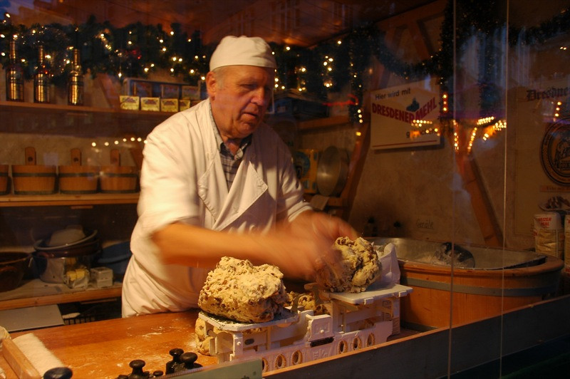 Stollen Baker at Streizelmarkt - Dresden, Germany