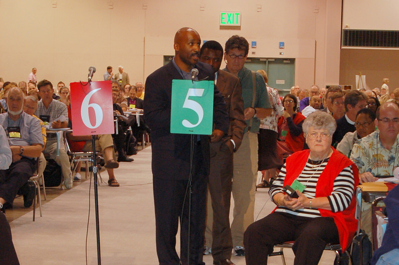 Michael Johnson, Southeast Michigan Synod, speaks to an issue during plenary session ten.