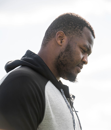 DAVID LIPNOWSKI / WINNIPEG FREE PRESS  Former University of Manitoba Bisons' David Onyemata at the University of Manitoba Bisons 2016 spring camp Sunday May 1, 2016 at the University of Manitoba Turf Fields. David Onyemata is the first Bison to be drafted into the NFL.