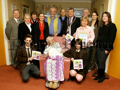 Book Launch in Four Seasons Care Home, Mayor Micheal Carr, Lilly, Mearis, Jeffery and Martha Pollock, High School Principle Mr R.Mc Veigh and  pupils, Simon Ruddy,Heather Davis and guests. 07W8N27