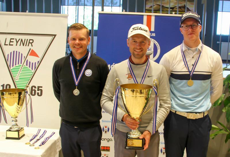 Ólafur Björn Loftsson, GKG, Rúnar Arnórsson, GK, Jóhannes Guðmundsson, GR.  Mynd/seth@golf.is