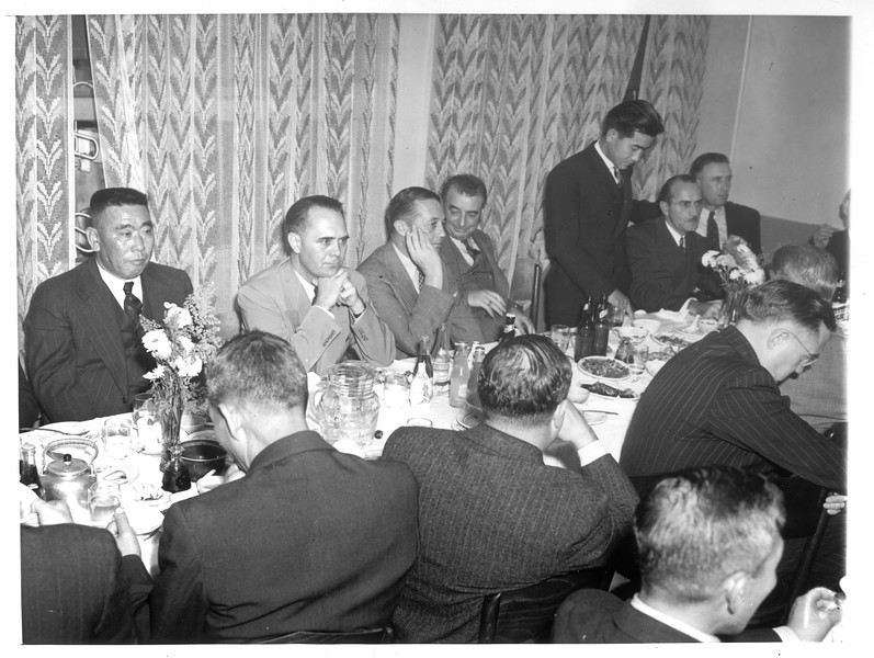 """""""Gathered at the annual meeting of the Japanese Association"""" -- caption on photograph"""