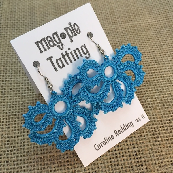 Caroline Redding Tatting  Earrings: Blue Fans