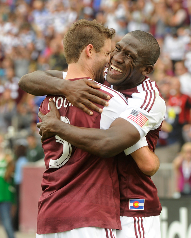 . COMMERCE CITY, CO. - JULY 27:  Rapids captain Drew Moor, left, embraced midfielder Hendry Thomas, right, following his goal in the first half. The Colorado Rapids hosted the Los Angeles Galaxy Saturday, July 27, 2013.  Photo By Karl Gehring/The Denver Post