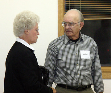 SAHS members Verla Mae Weaver and Ivan Hovland chatting after the program.