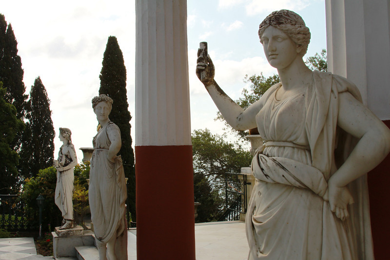 Statues in the courtyard of the Achilleion Palace.