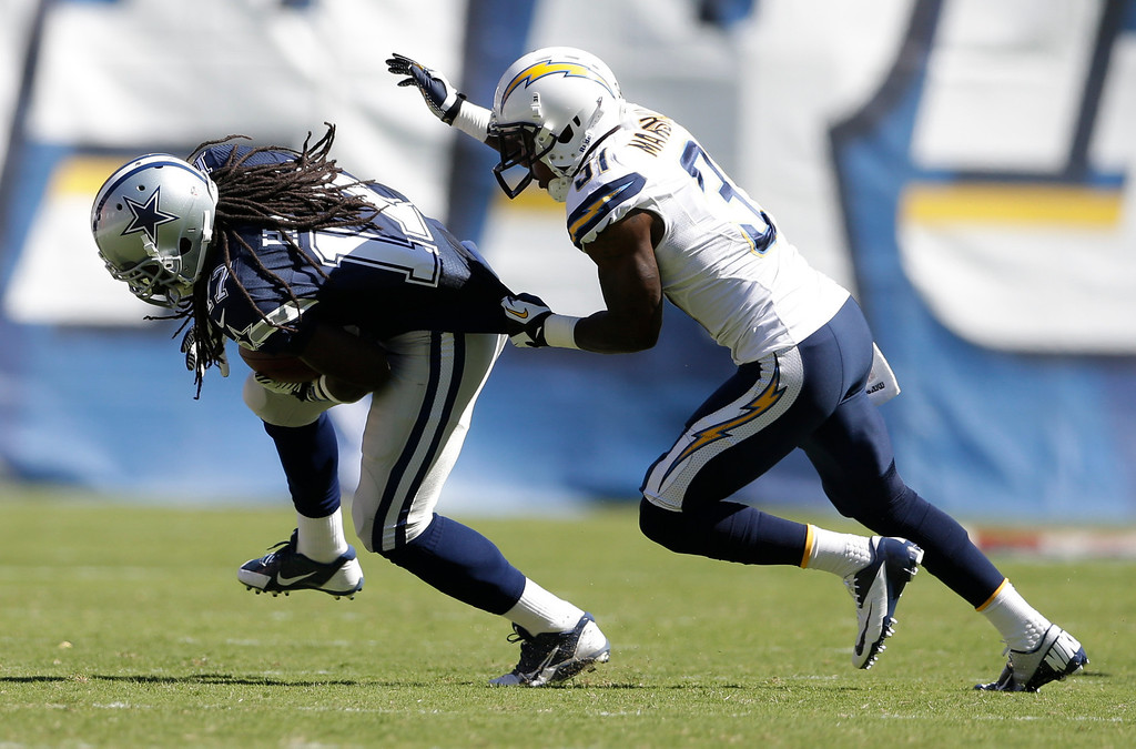 . San Diego Chargers linebacker Larry English grabs Dallas Cowboys wide receiver Dwayne Harris during the first half of an NFL football game Sunday, Sept. 29, 2013, in San Diego. (AP Photo/Gregory Bull)