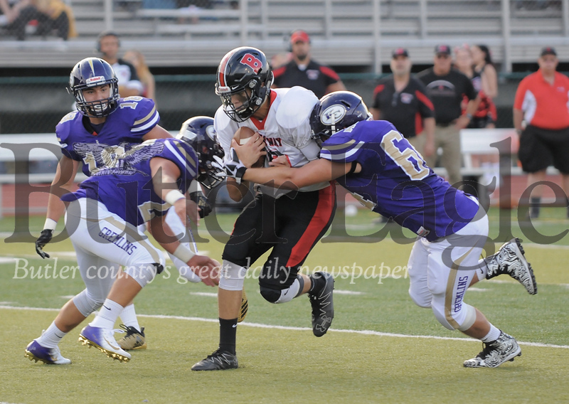 Brockway #10  Devin Ryan tries to get to get extra yards as Karns City #21 Erik Pfeifer and #64 Landon Larimore try to stop him during a game at Karns City Stadium on Friday August 24, 2018.(Jason Swanson photo)
