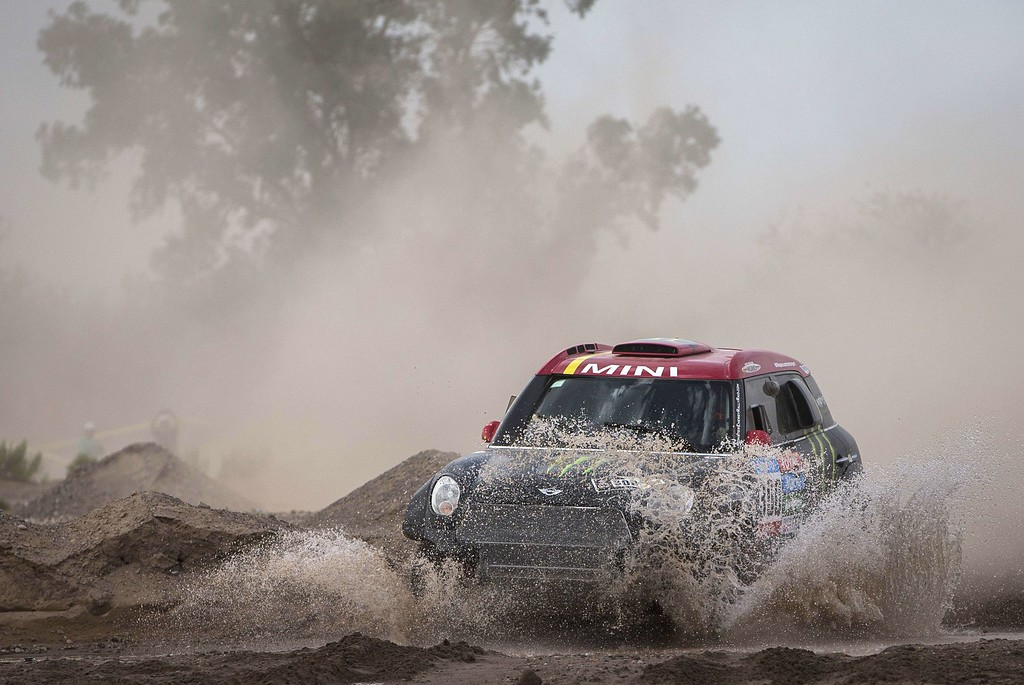 . Mini\'s driver Nani Joan Roma of Spain and co-driver Michel Perin of France compete in the 2015 Dakar Rally Stage 3 between San Juan and Chilecito, Argentina, on January 6, 2015. FELIPE DANA/AFP/Getty Images