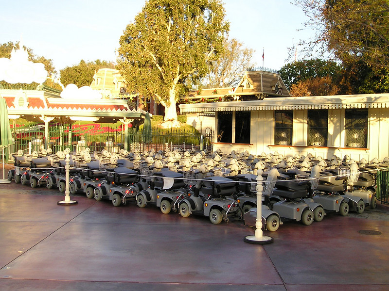 Electric carts for rent at Dland entrance--huge quantities!