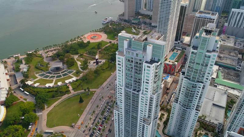 Aerial drone video Vizcayne Towers Downtown Miami