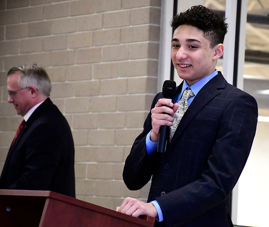 3/10/2020 Mike Orazzi | Staff Josias Reynoso after being named Youth of the Year at the Boys & Girls Club of Bristol on Tuesday.