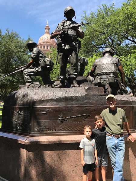 """Mike Krauel, U.S. Army, father to Daylan and Axton. """"Thank you for your service! We love you so much! Love, The Sharrocks"""""""