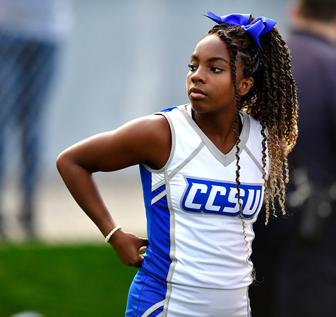 9/72019 Mike Orazzi | Staff CCSU cheerleaders in New Britain on Saturday night.