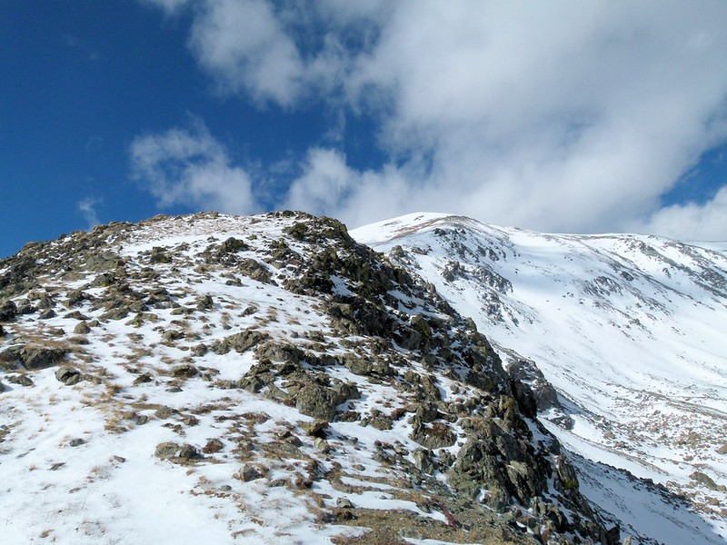 Ridge up Jones Mountain B, but too much snow and wind