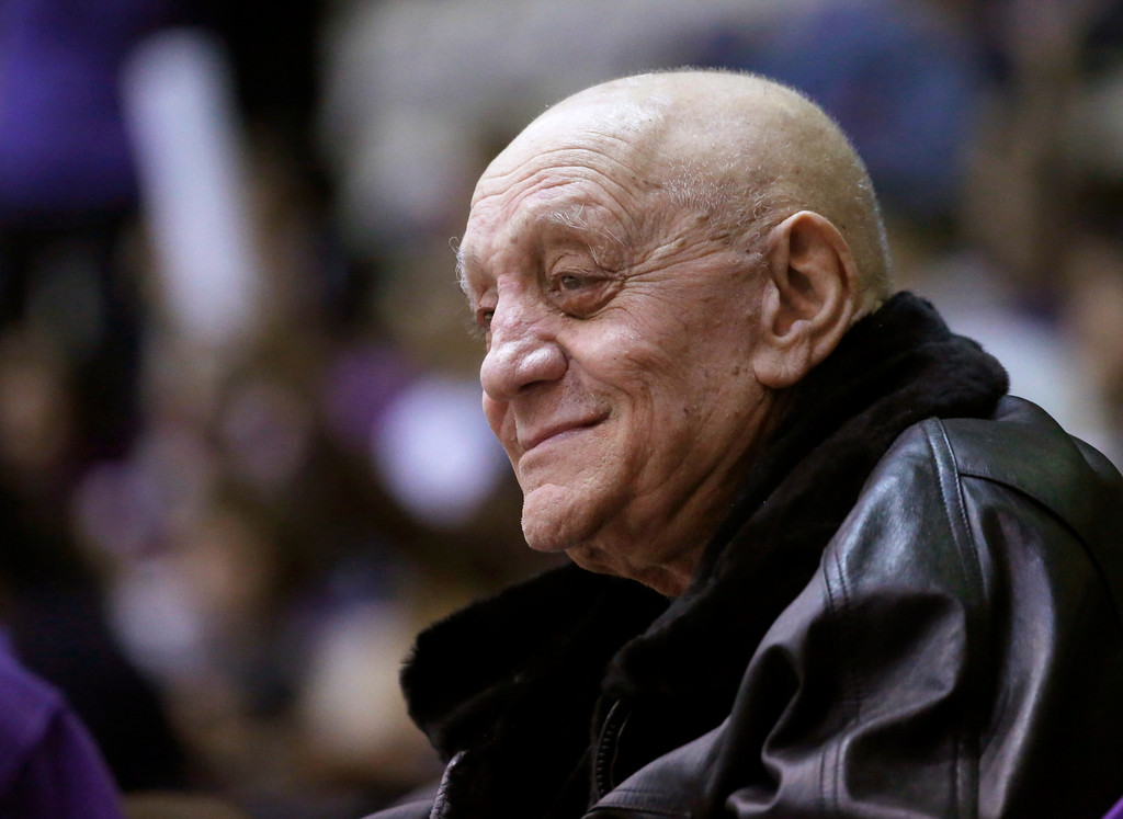 . In this Dec. 17, 2012, file photo, former UNLV basketball coach Jerry Tarkanian watches his granddaughter, Northwestern center Dannielle Diamant, during Northwestern\'s NCAA college basketball game against California in Evanston, Ill.  (AP Photo/Charles Rex Arbogast, File)