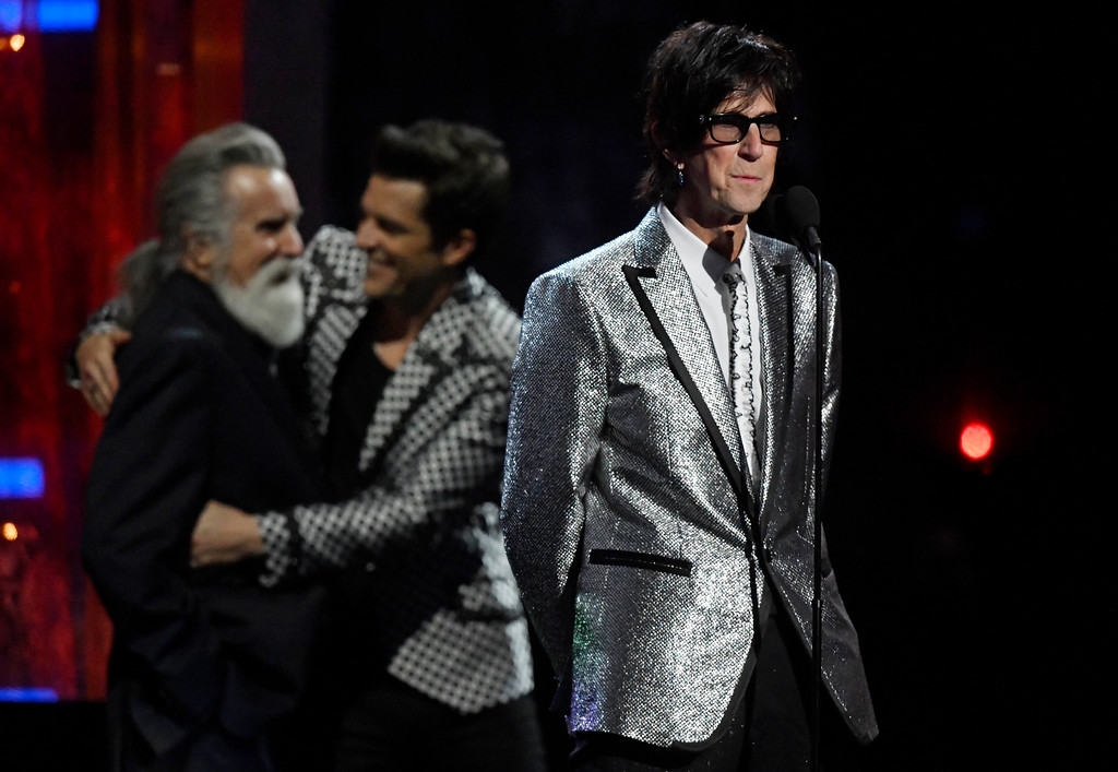 . Inductee Ric Ocasek of The Cars speaks during the Rock and Roll Hall of Fame induction ceremony, Saturday, April 14, 2018, in Cleveland. (AP Photo/David Richard)