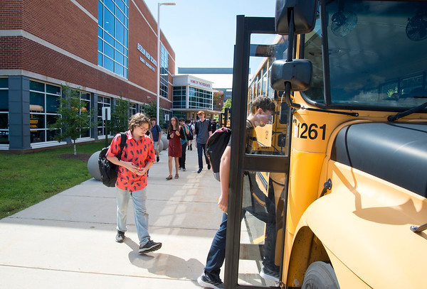 08/29/19 Wesley Bunnell | Staff Berlin High School students exit school after the first day of classes on Thursday August 29, 2019.