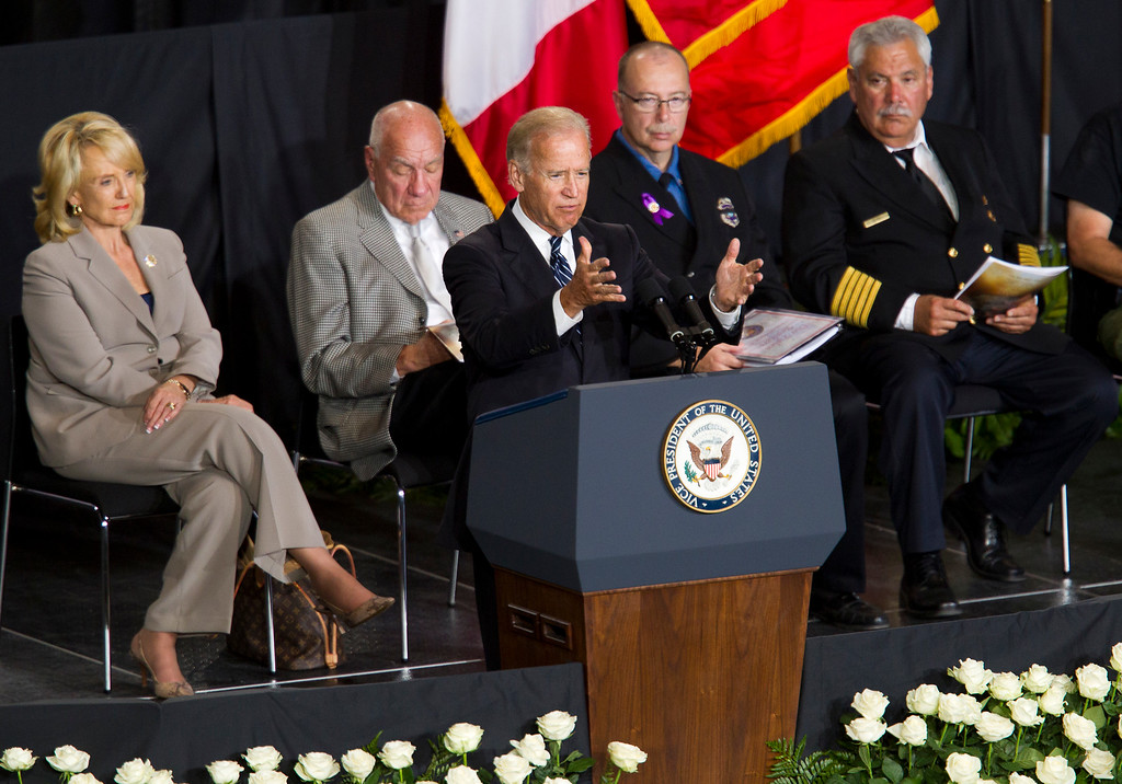 . Vice President Joe Biden speaks during a memorial service for the 19 fallen firefighters at Tim\'s Toyota Center in Prescott Valley, Ariz. on Tuesday, July 9, 2013.    (AP Photo/The Arizona Republic, Michael Chow, Pool)