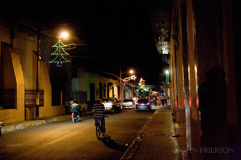 Christmas lights line some streets